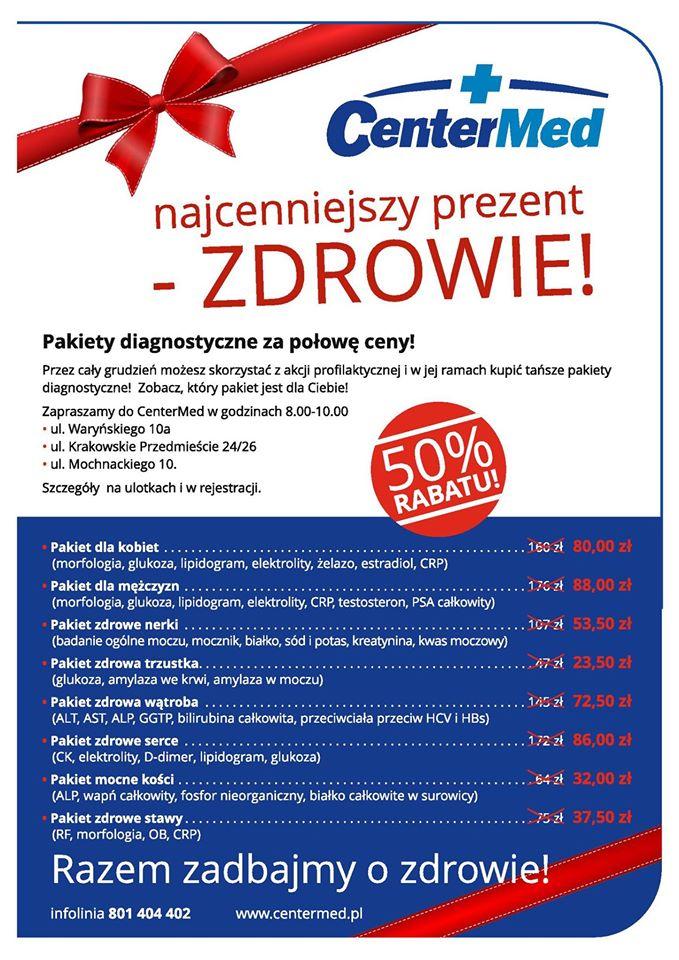 Pakiety diagnostyczne w CenterMed Warszawa za połowę ceny!